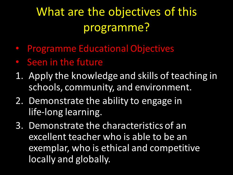 What are the objectives of this programme