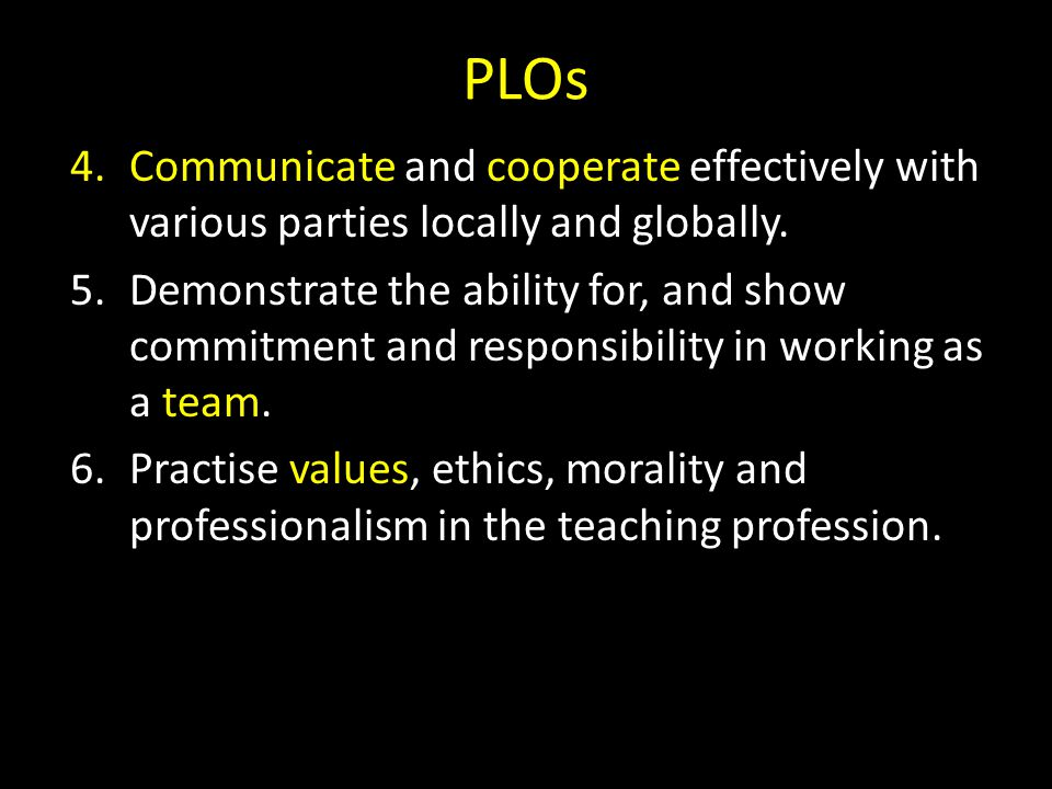 PLOs Communicate and cooperate effectively with various parties locally and globally.