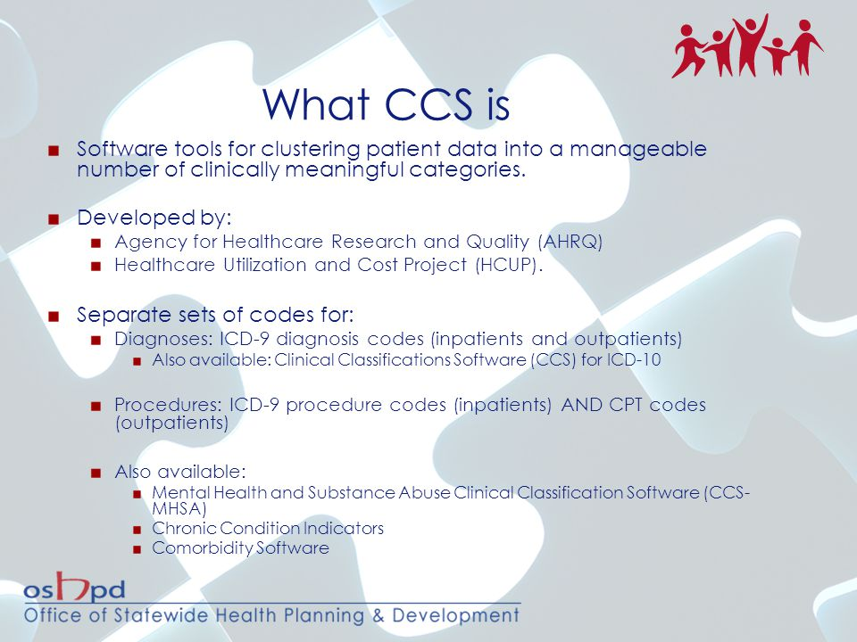 What CCS is Software tools for clustering patient data into a manageable number of clinically meaningful categories.