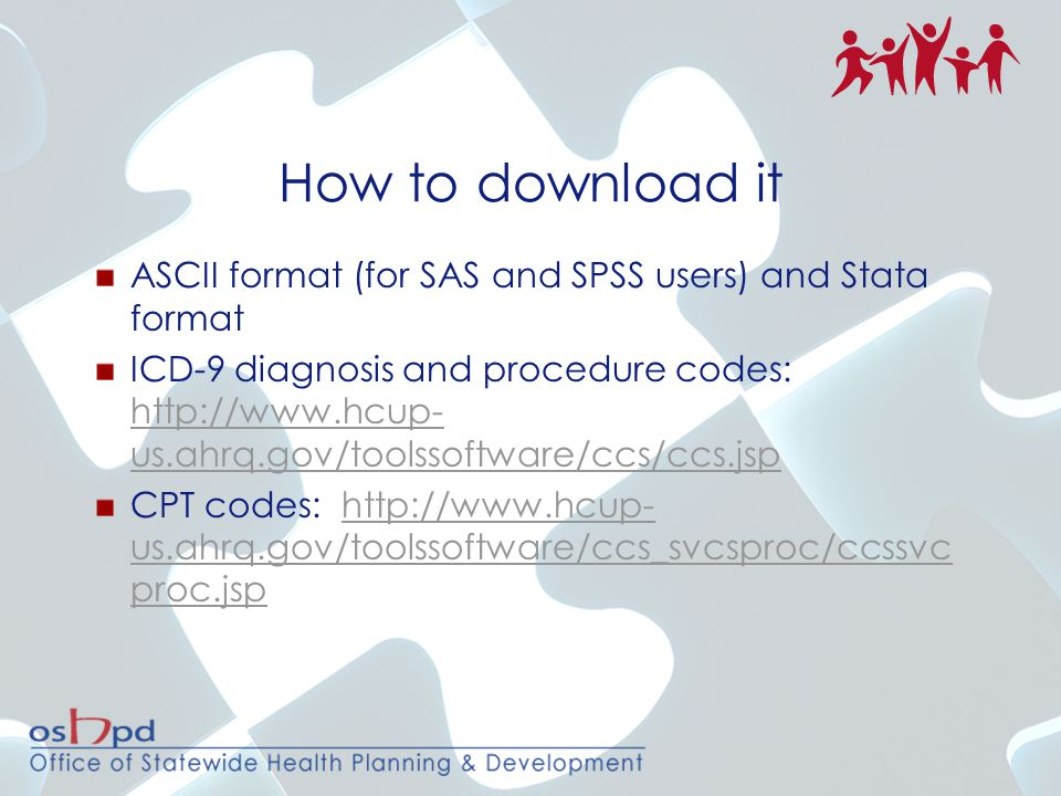 How to download it ASCII format (for SAS and SPSS users) and Stata format.