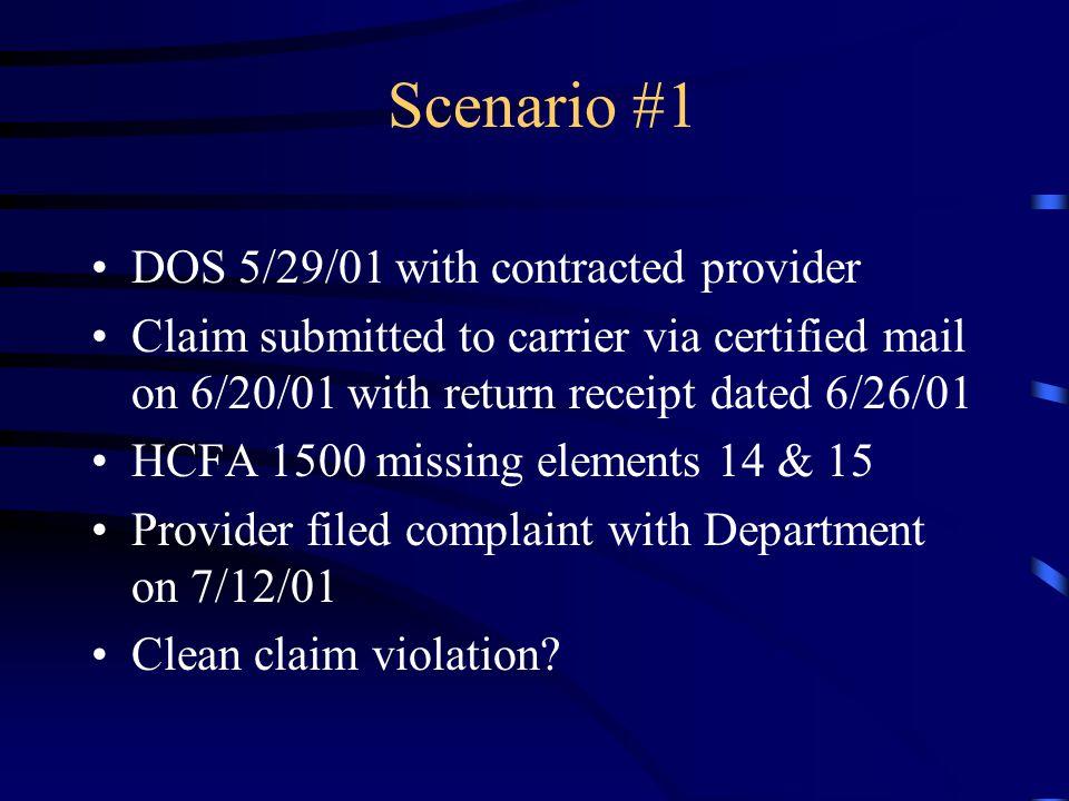 Scenario #1 DOS 5/29/01 with contracted provider