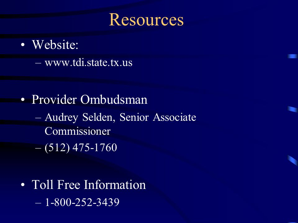 Resources Website: Provider Ombudsman Toll Free Information