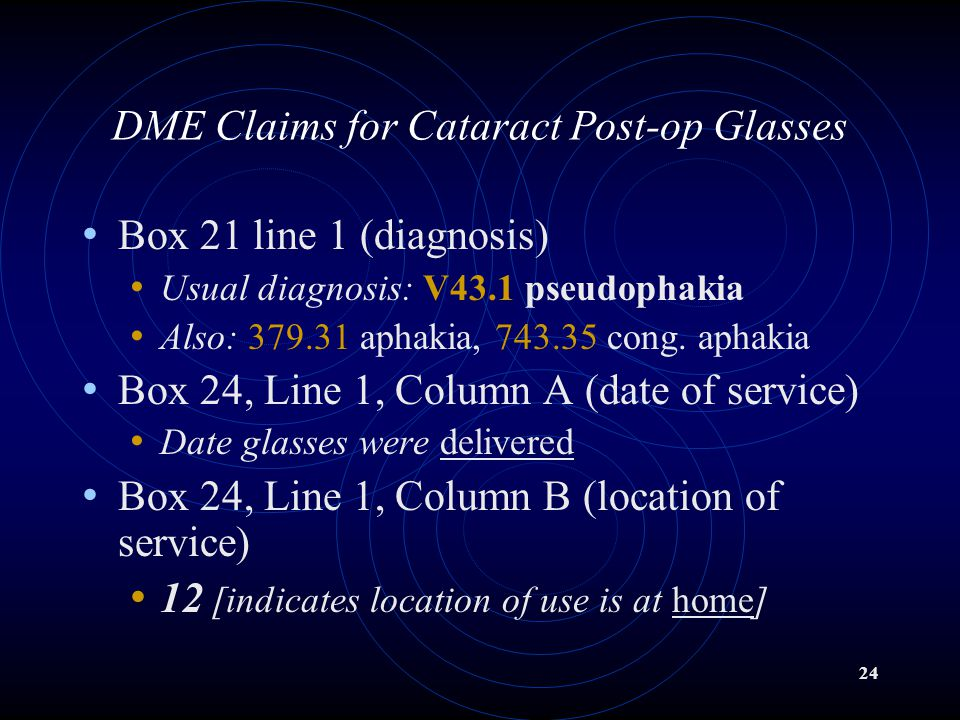 DME Claims for Cataract Post-op Glasses