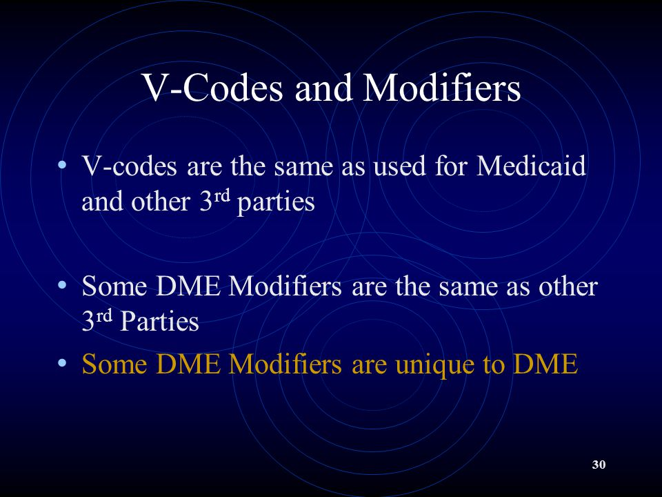 V-Codes and Modifiers V-codes are the same as used for Medicaid and other 3rd parties. Some DME Modifiers are the same as other 3rd Parties.