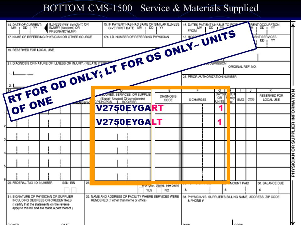 BOTTOM CMS-1500 Service & Materials Supplied