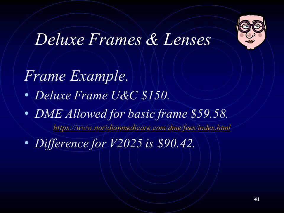 Deluxe Frames & Lenses Frame Example. Deluxe Frame U&C $150.