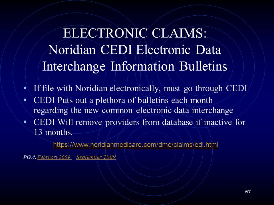 ELECTRONIC CLAIMS: Noridian CEDI Electronic Data Interchange Information Bulletins