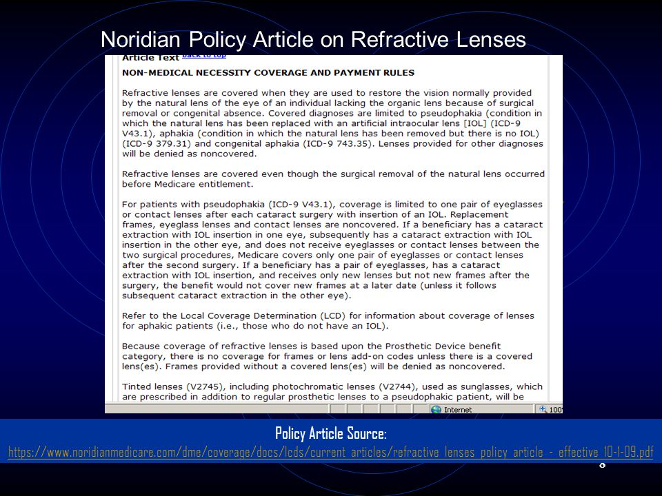 Noridian Policy Article on Refractive Lenses