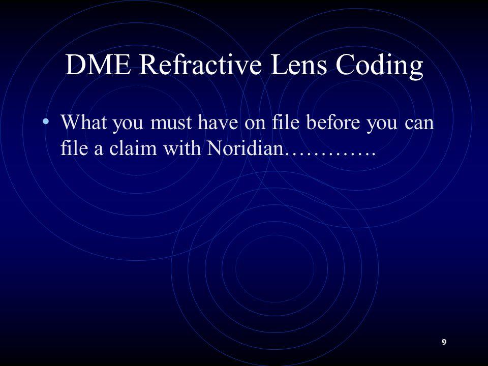DME Refractive Lens Coding