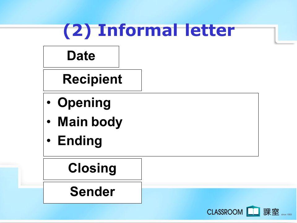 (2) Informal letter Date Recipient Opening Main body Ending Closing