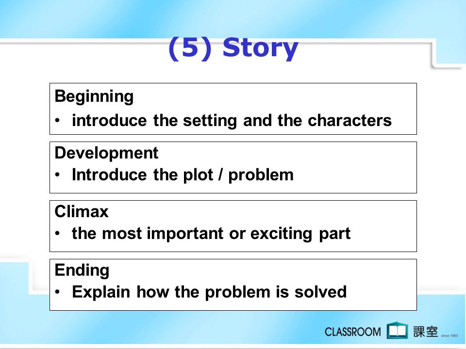 (5) Story Beginning introduce the setting and the characters