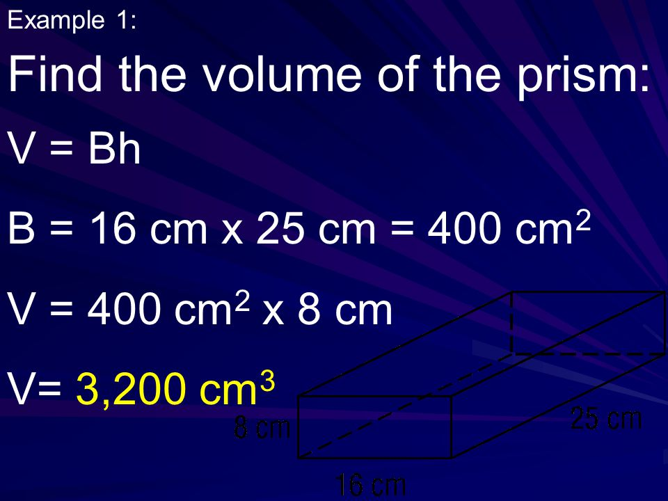 Find the volume of the prism: