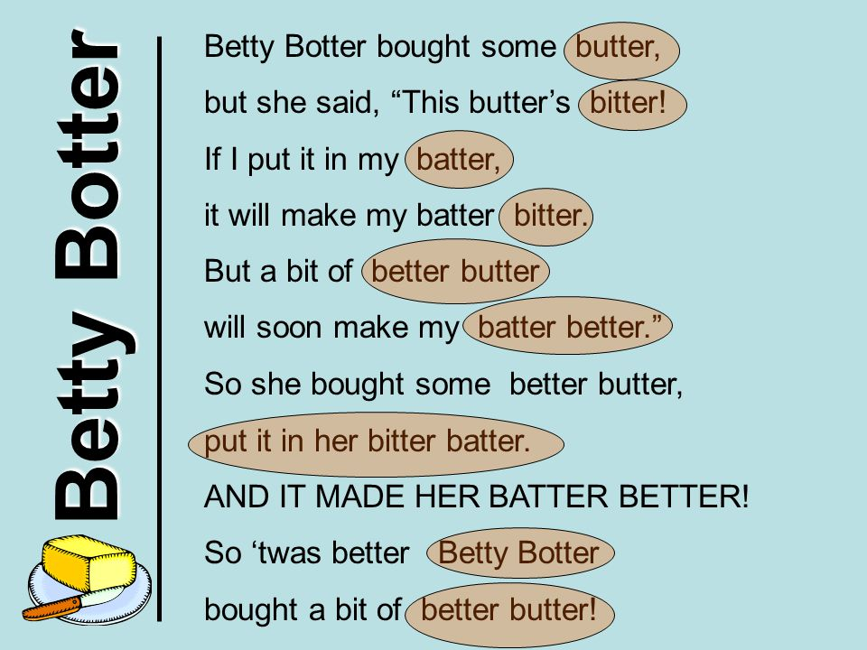 Betty Botter Betty Botter bought some butter,