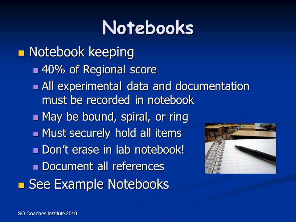 Notebooks Notebook keeping See Example Notebooks 40% of Regional score