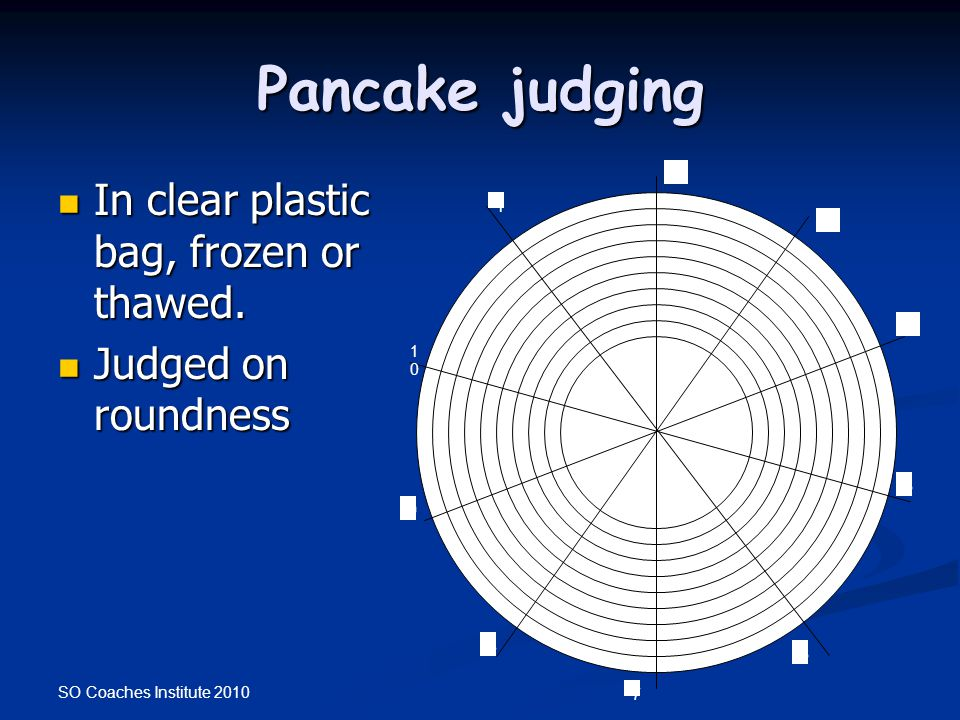 Pancake judging In clear plastic bag, frozen or thawed.