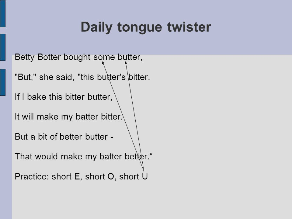 Daily tongue twister Betty Botter bought some butter,