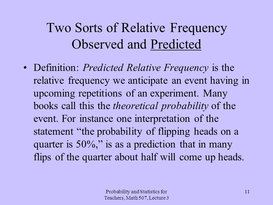 Two Sorts of Relative Frequency Observed and Predicted