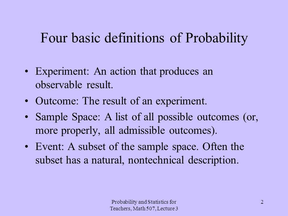Four basic definitions of Probability