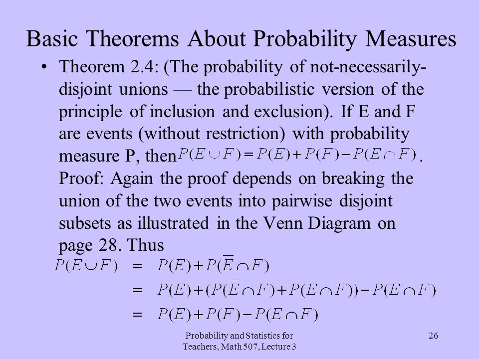 Basic Theorems About Probability Measures