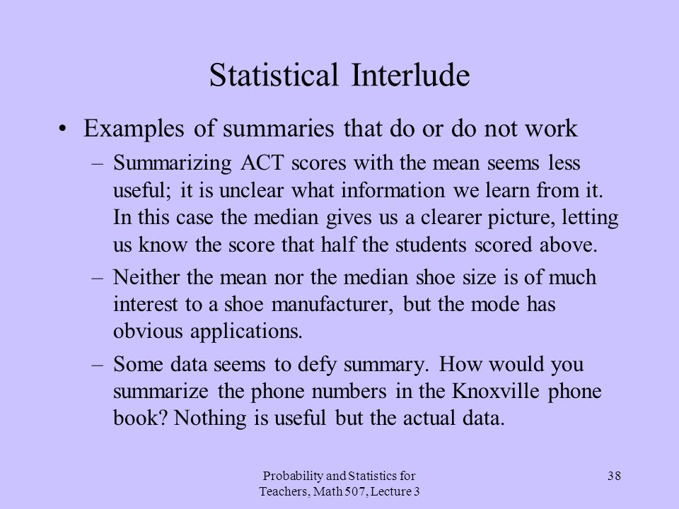 Statistical Interlude