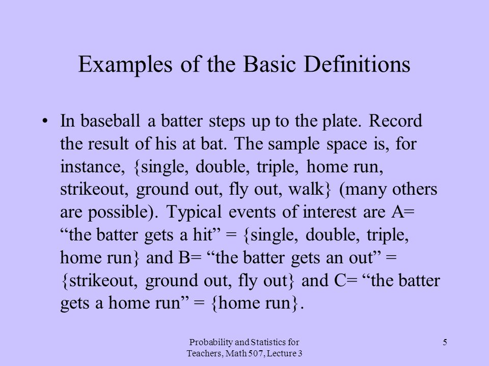 Examples of the Basic Definitions