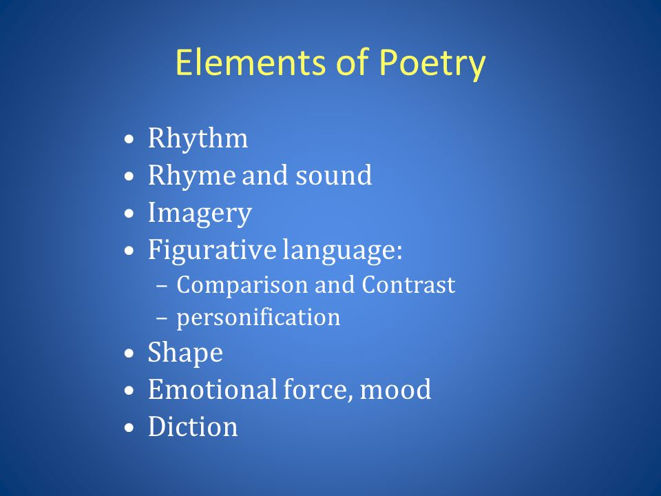 Elements of Poetry Rhythm Rhyme and sound Imagery Figurative language: