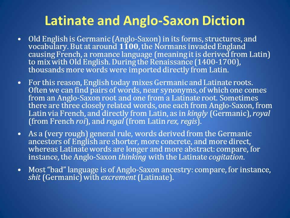 Latinate and Anglo-Saxon Diction