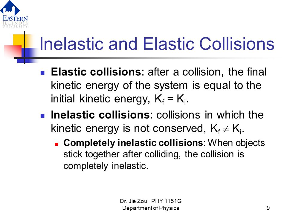 an observation of the conservation or loss of momentum and kinetic energy