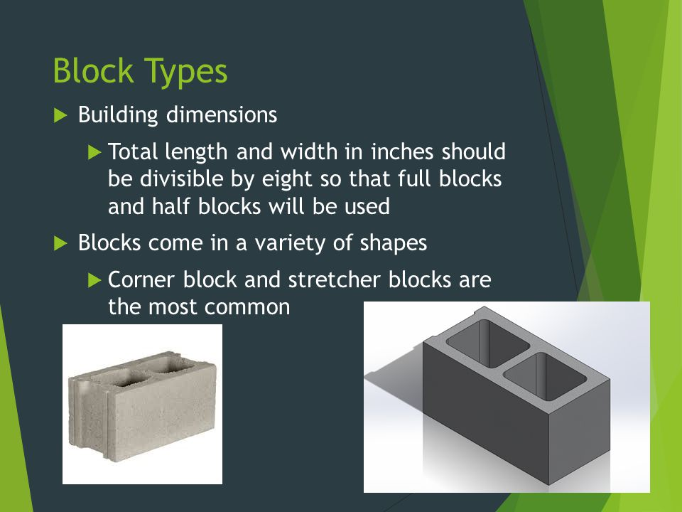 Block Types Building dimensions