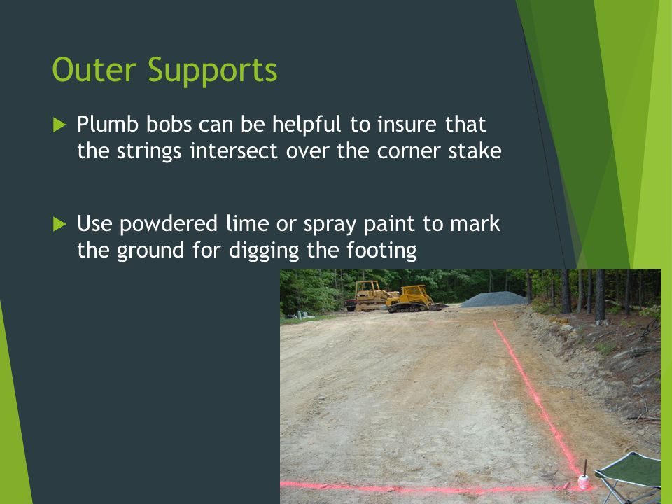 Outer Supports Plumb bobs can be helpful to insure that the strings intersect over the corner stake.