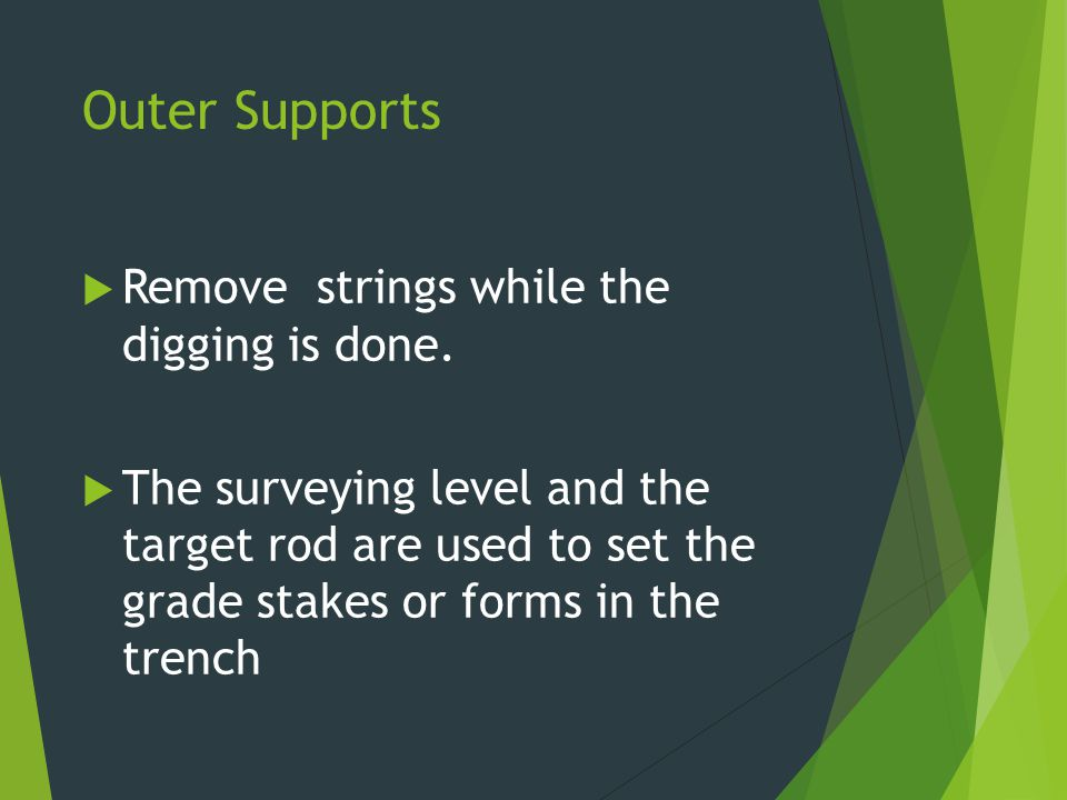 Outer Supports Remove strings while the digging is done.