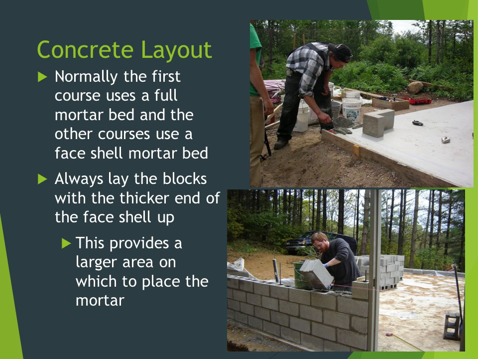 Concrete Layout Normally the first course uses a full mortar bed and the other courses use a face shell mortar bed.