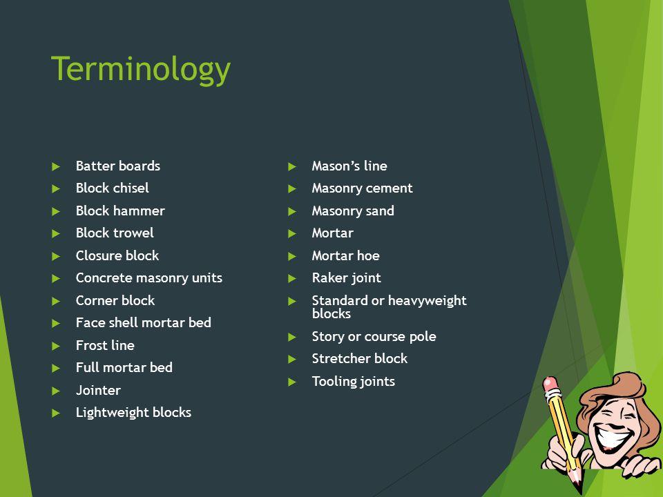 Terminology Batter boards Block chisel Block hammer Block trowel