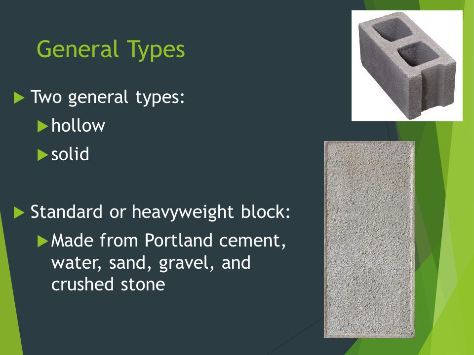 General Types Two general types: hollow solid
