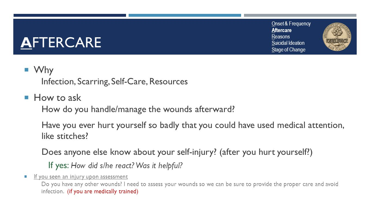 Aftercare Why How to ask Infection, Scarring, Self-Care, Resources
