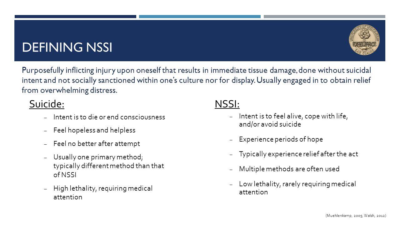 Defining NSSI Suicide: NSSI: