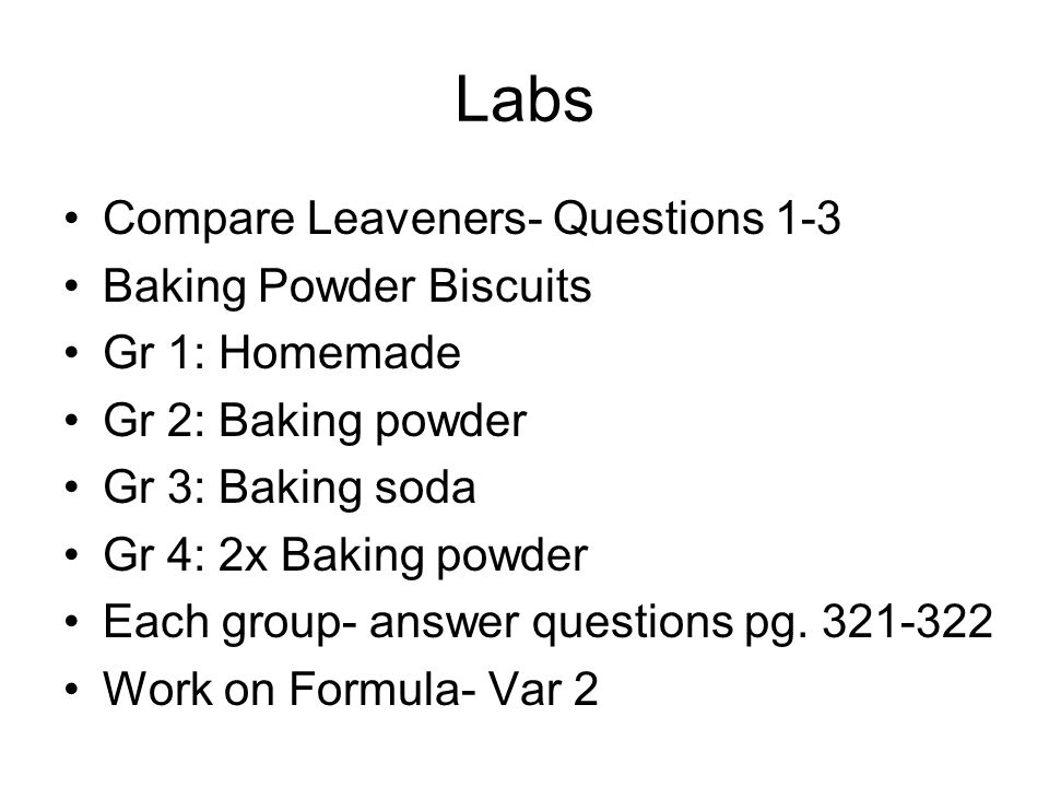 Labs Compare Leaveners- Questions 1-3 Baking Powder Biscuits