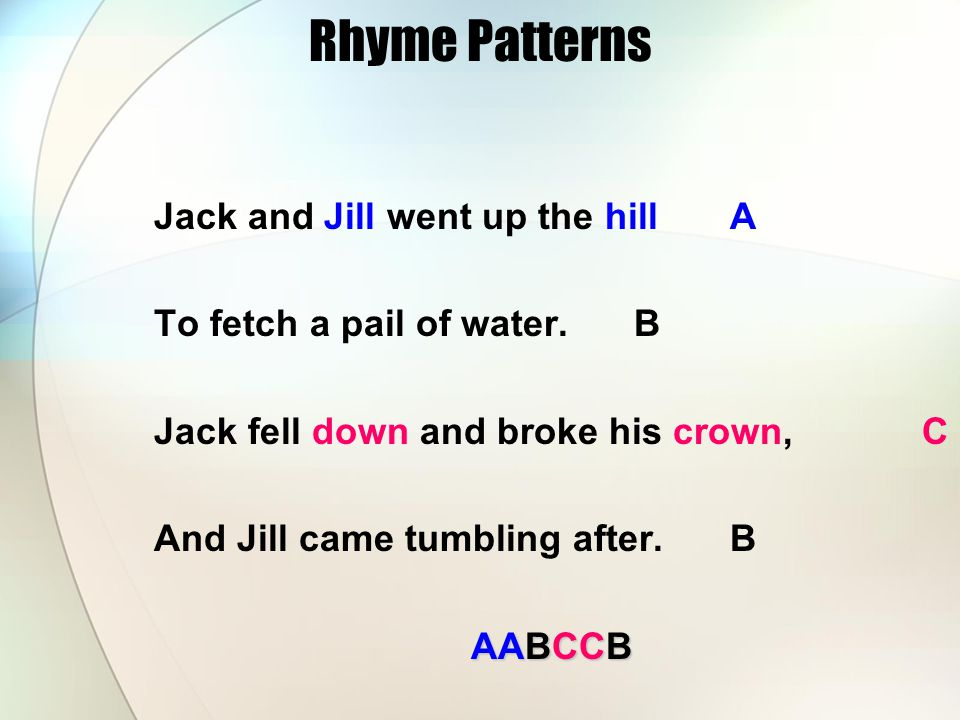 Rhyme Patterns Jack and Jill went up the hill A