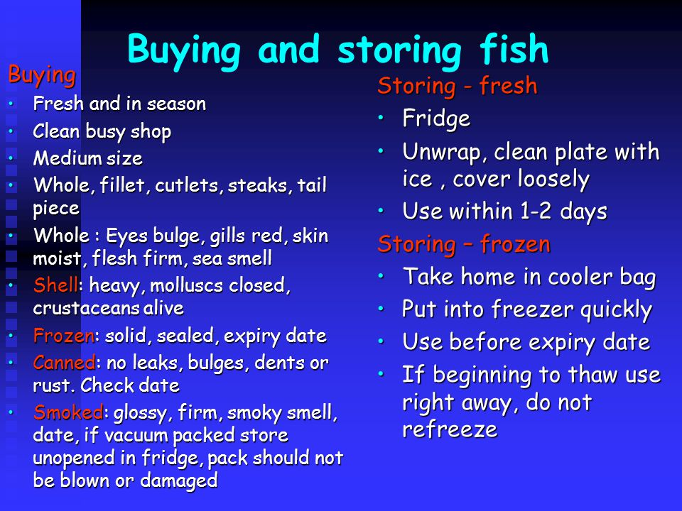 Buying and storing fish