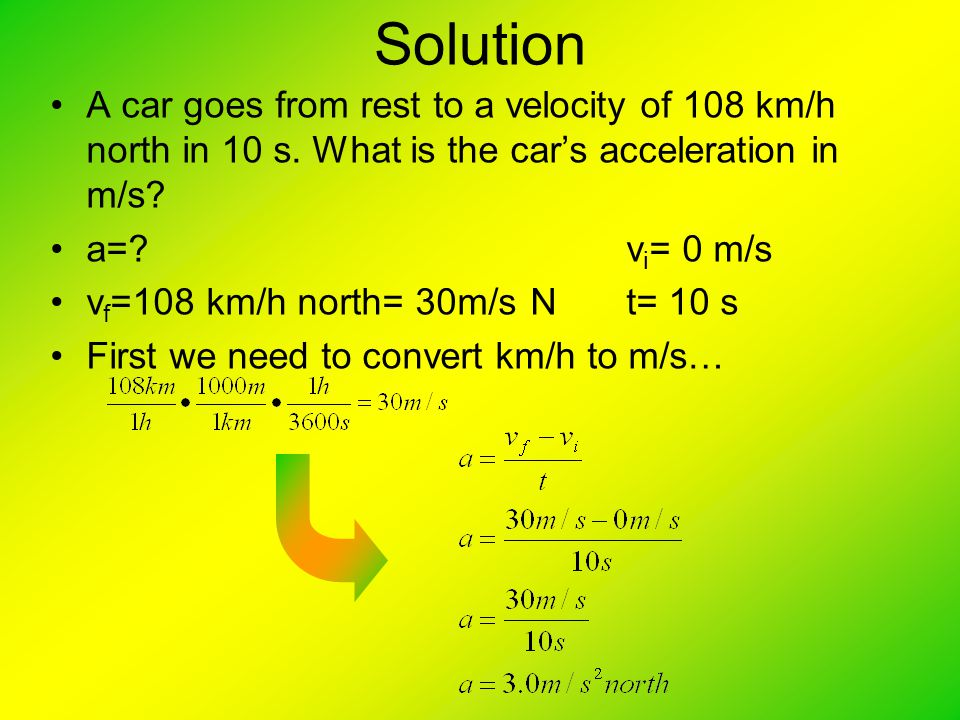Solution A car goes from rest to a velocity of 108 km/h north in 10 s. What is the car's acceleration in m/s
