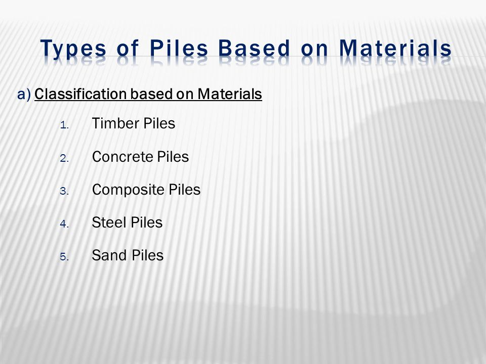 Types of Piles Based on Materials