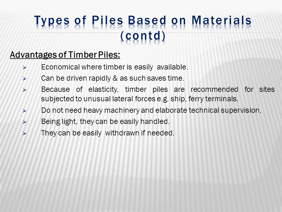 Types of Piles Based on Materials (contd)