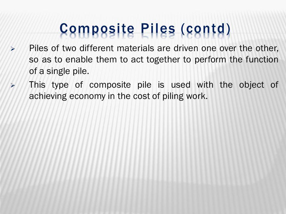 Composite Piles (contd)