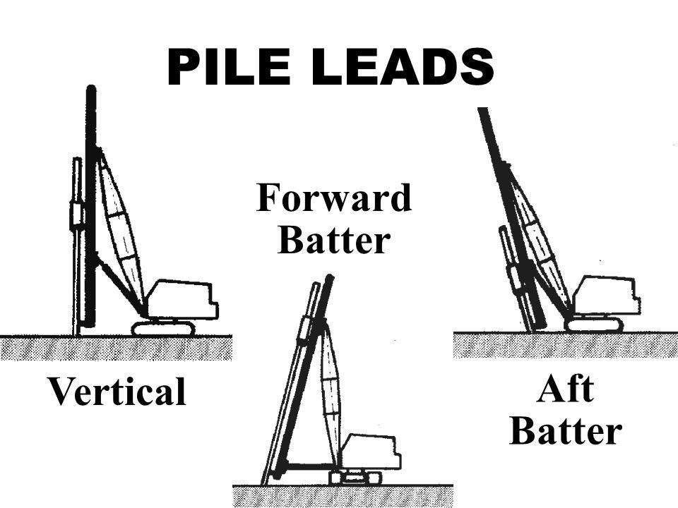PILE LEADS Forward Batter Vertical Aft Batter