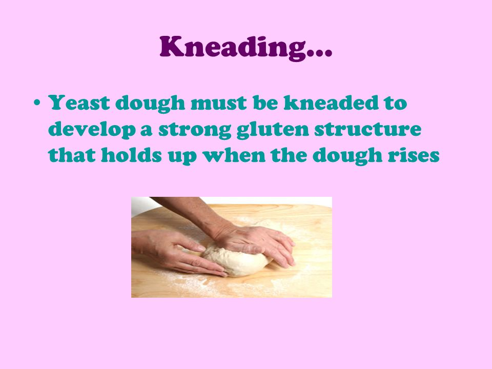 Kneading… Yeast dough must be kneaded to develop a strong gluten structure that holds up when the dough rises.