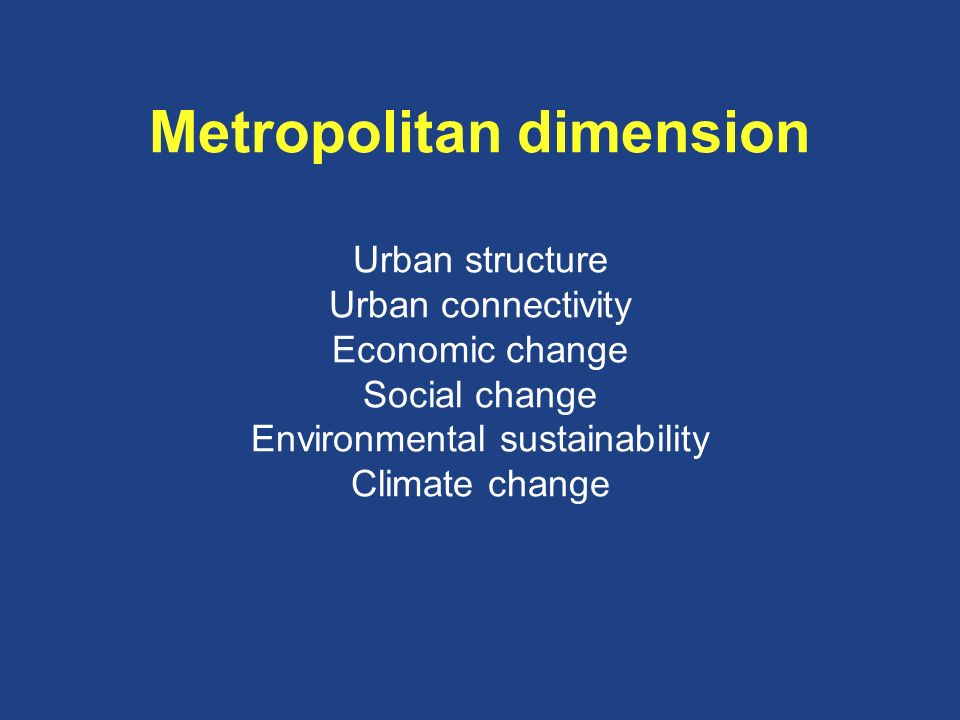 Metropolitan dimension Urban structure Urban connectivity Economic change Social change Environmental sustainability Climate change