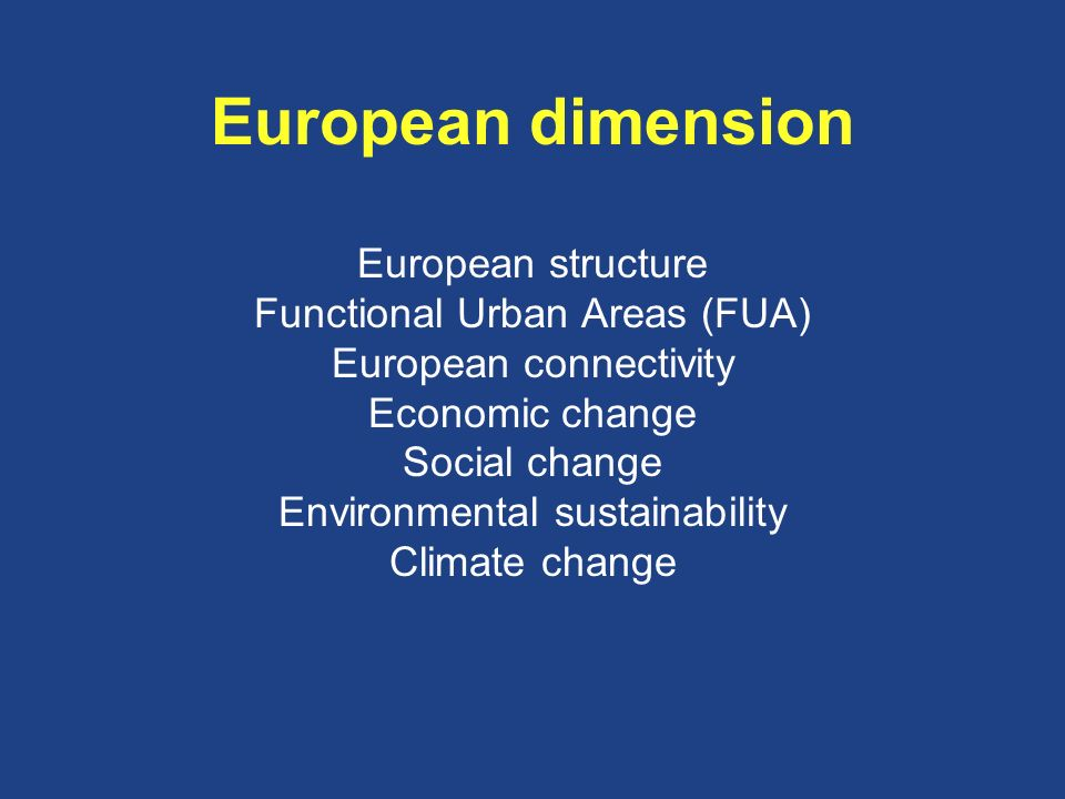 European dimension European structure Functional Urban Areas (FUA) European connectivity Economic change Social change Environmental sustainability Climate change