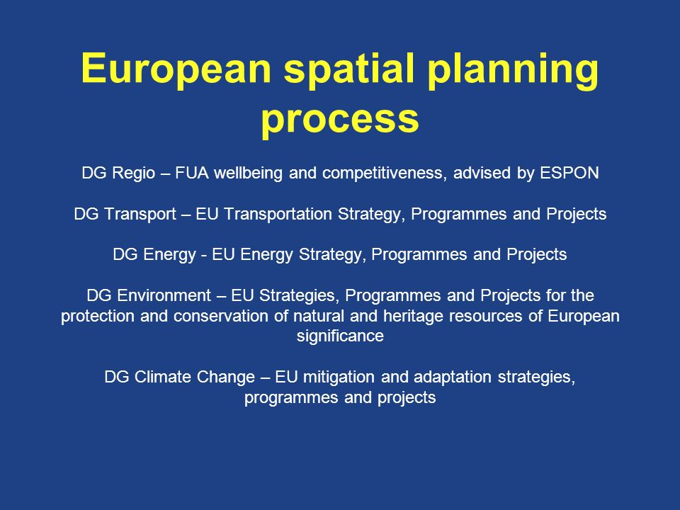 European spatial planning process DG Regio – FUA wellbeing and competitiveness, advised by ESPON DG Transport – EU Transportation Strategy, Programmes and Projects DG Energy - EU Energy Strategy, Programmes and Projects DG Environment – EU Strategies, Programmes and Projects for the protection and conservation of natural and heritage resources of European significance DG Climate Change – EU mitigation and adaptation strategies, programmes and projects