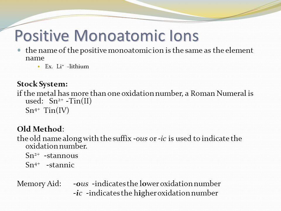 Positive Monoatomic Ions