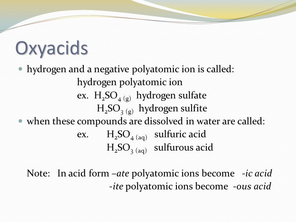 Oxyacids hydrogen and a negative polyatomic ion is called: